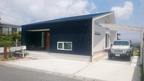 ブルーとホワイトの鮮やかな塗り壁が映えるデザイン、こだわりが詰まった住まい